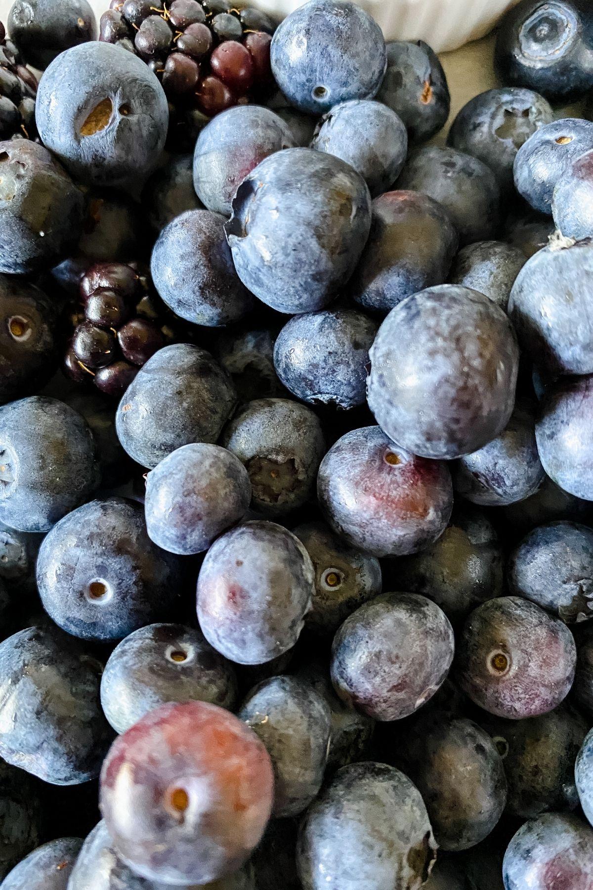 Blueberries next to blackberries
