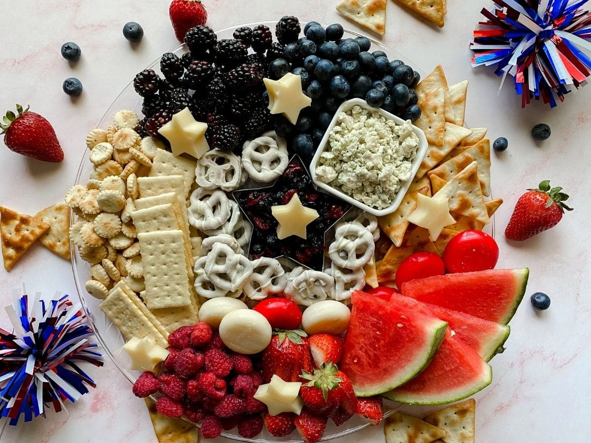 Overhead image of charcuterie board with patriotic theme