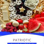 Patriotic charcuterie board image on white banner with blue accent
