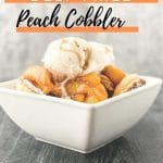 Image for pinterest with cobbler in bowl and banner in orange saying deep fried peach cobbler