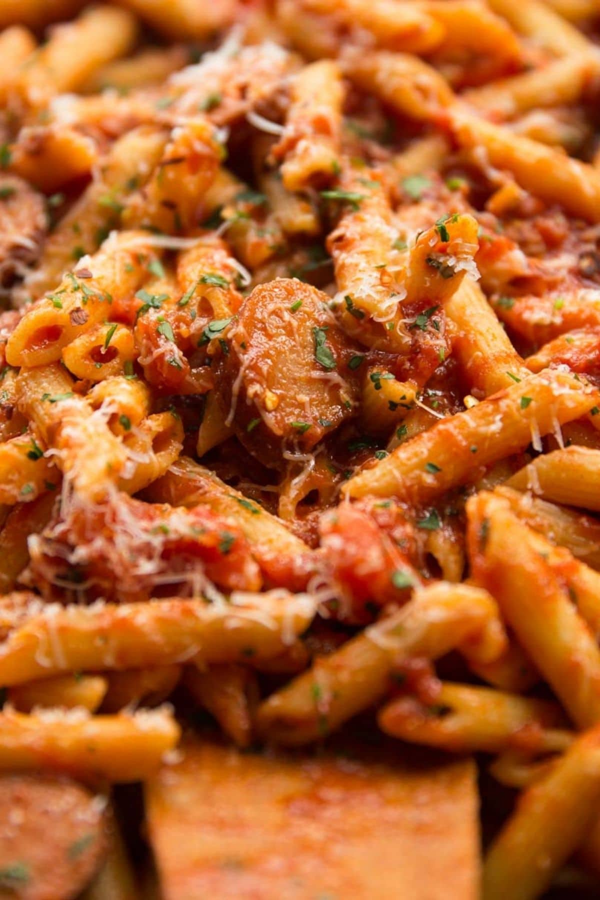 Penne pasta with red sauce and sausage