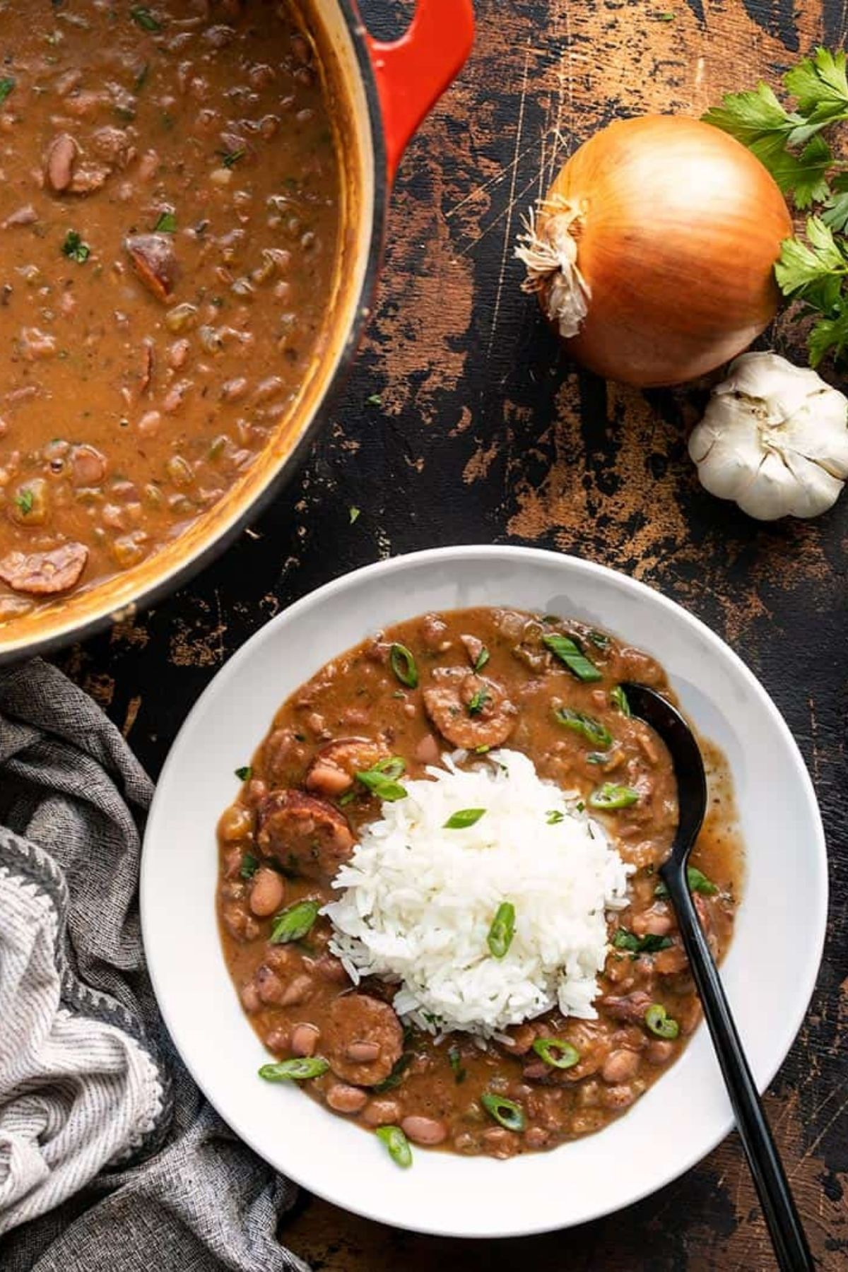 White bowl filled with red beans and rice