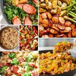 Square collage image of a variety of smoked sausage recipe pictures