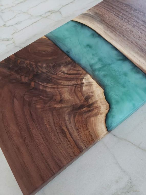 Walnut and Turquoise Resin River Serving Board | Etsy