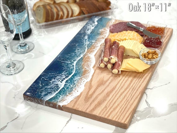 Large Personalized Wood Serving Board Ocean Charcuterie | Etsy