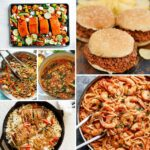 Collage image of foods including salmon on tray sloppy joes and pasta with shrimp