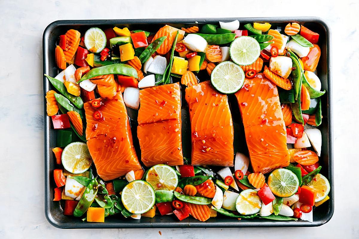 Sheet Pan Thai Glazed Salmon With Vegetables