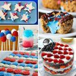 Collage image featuring patriotic recipes