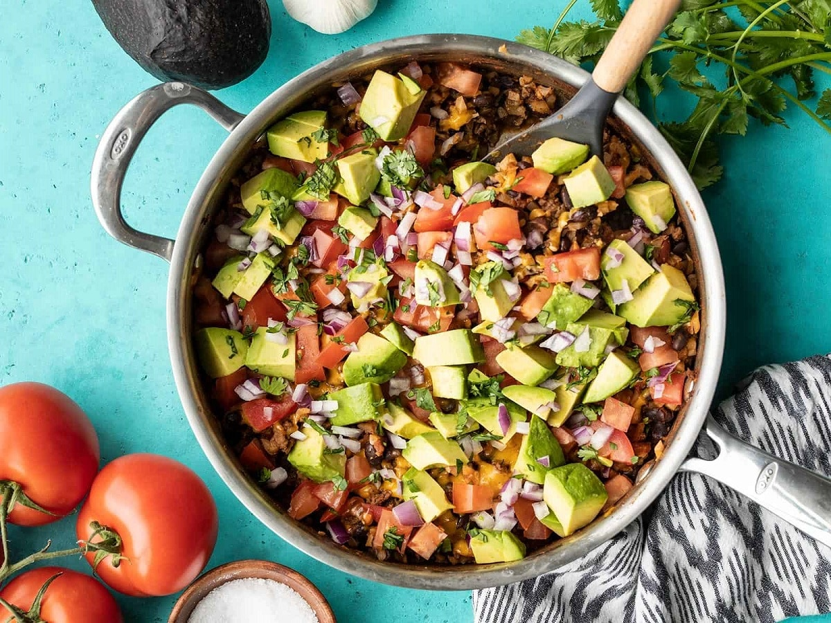 Beef and cauliflower taco skillet with avocado and parsley
