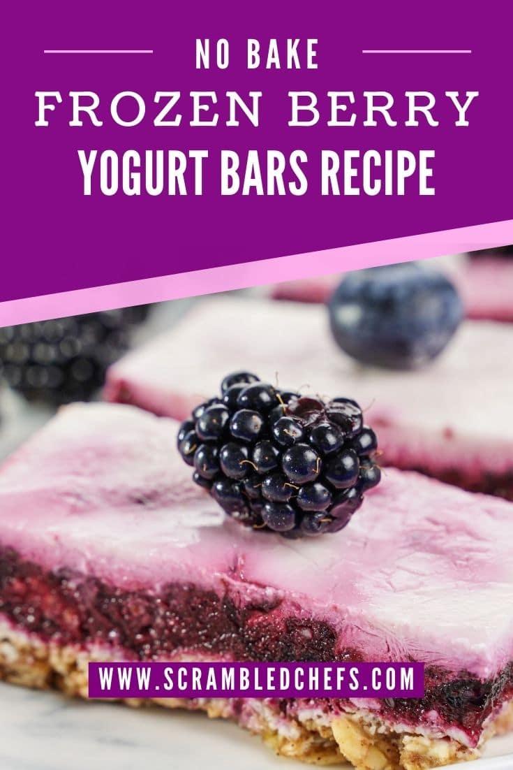 Frozen yogurt bars with blackberry on top with purple overlay that says frozen berry yogurt bars