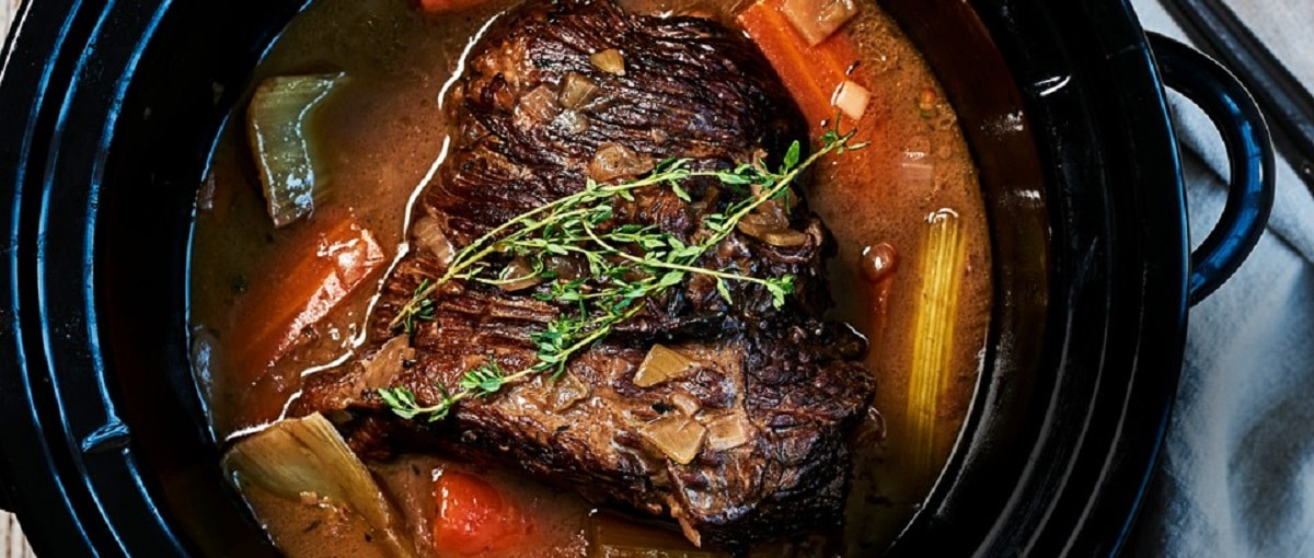Brisket With Red Wine, Thyme, And Onions