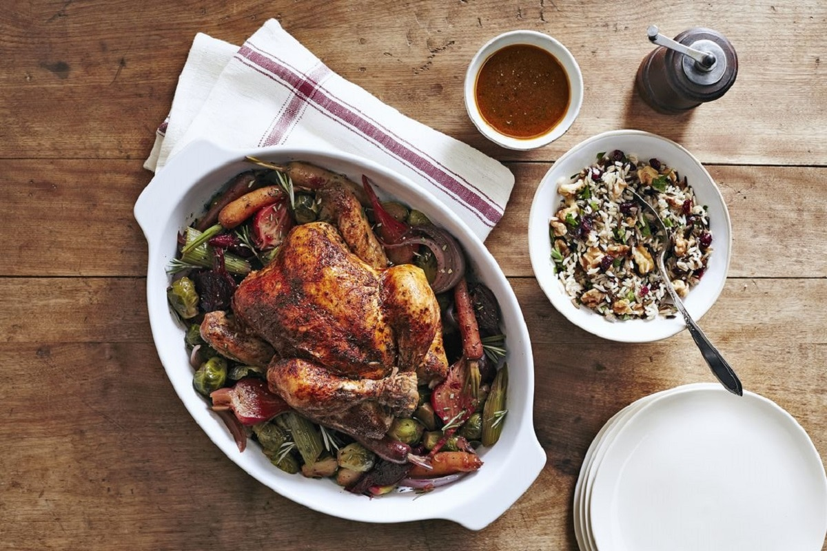 Chicken With Beets and Brussels