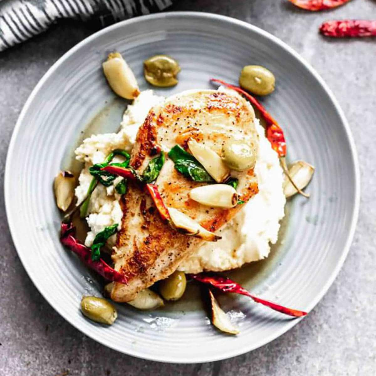 Chicken With Chilis and Olives on a plate