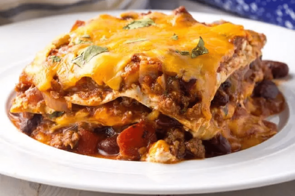 Chili Lasagna with bechamel sauce on a plate