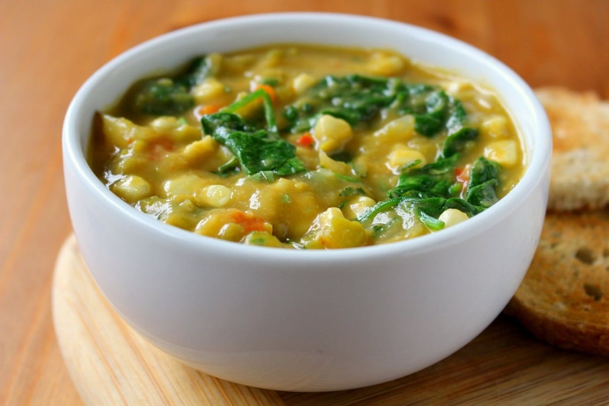 Corn and Yellow Split Pea Chowder served with toasted bread on the side