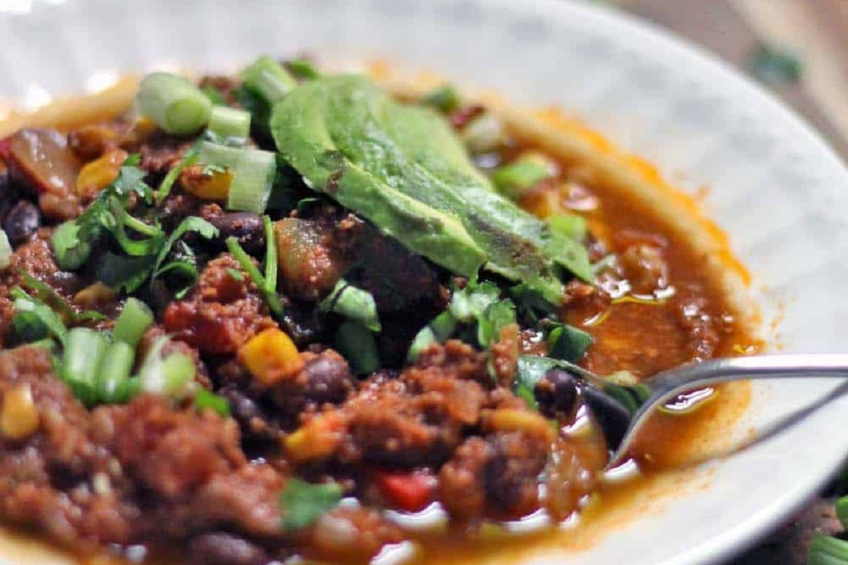 Crockpot Turkey And Vegetable Chili on a plate