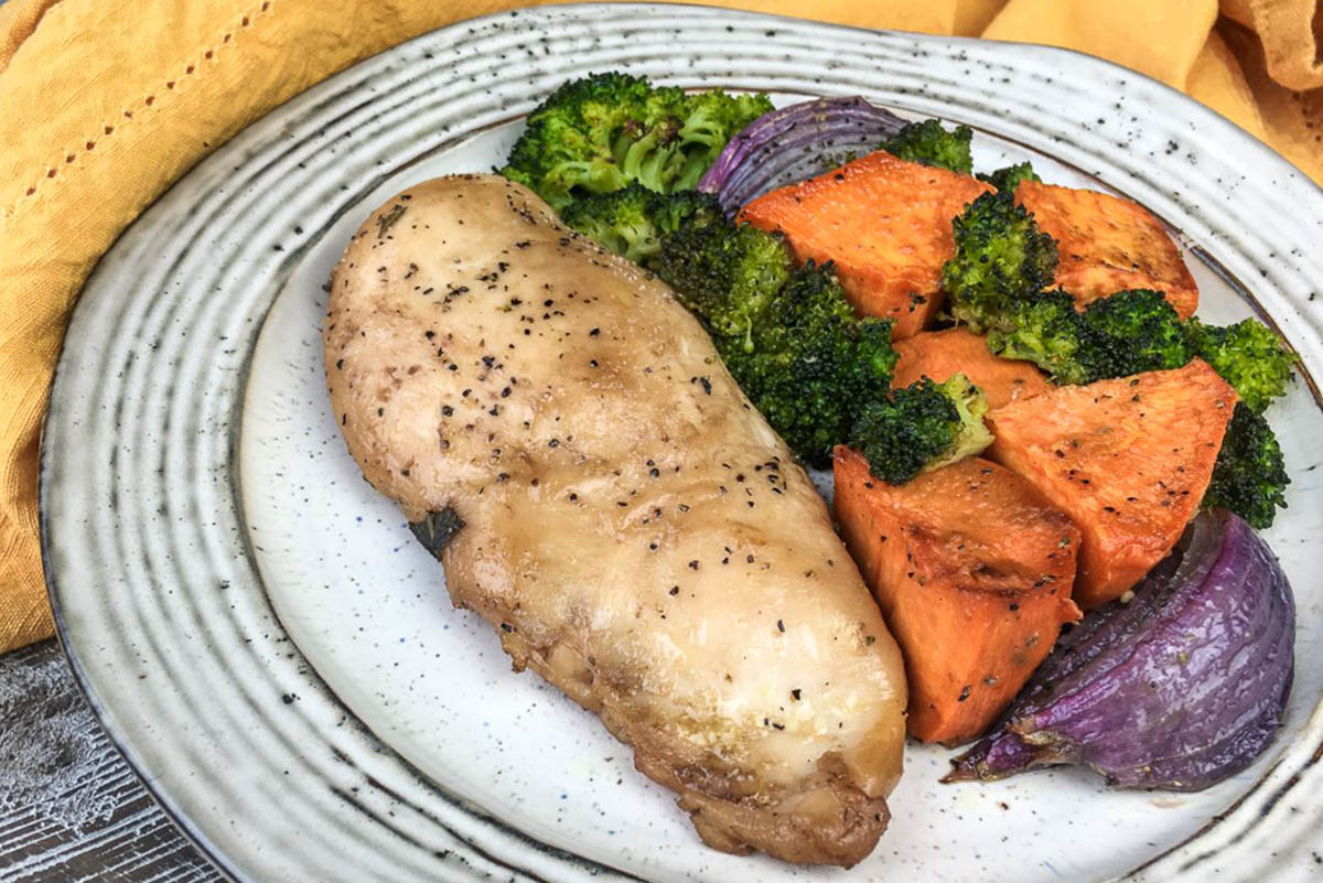 Easy Balsamic Chicken with broccoli, sweet potato and red onions