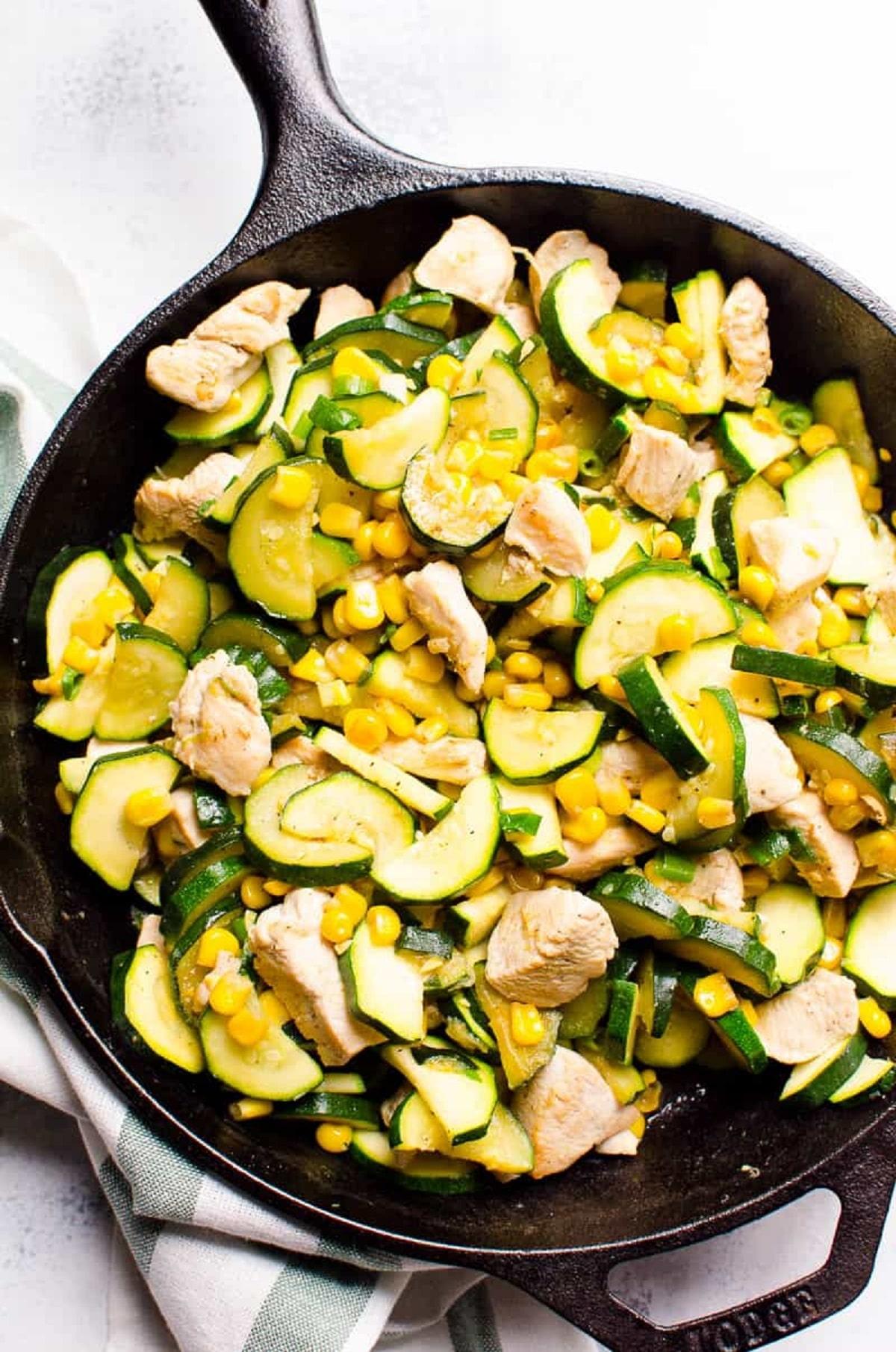 Garlic Zucchini, Chicken and Corn