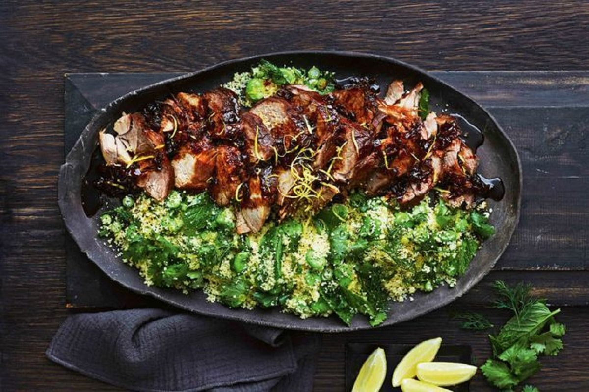 Ginger Marmalade Pork With Broad Bean Couscous