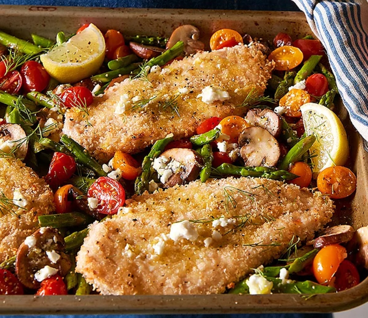 Greek chicken with roasted spring vegetables and lemon vinaigrette