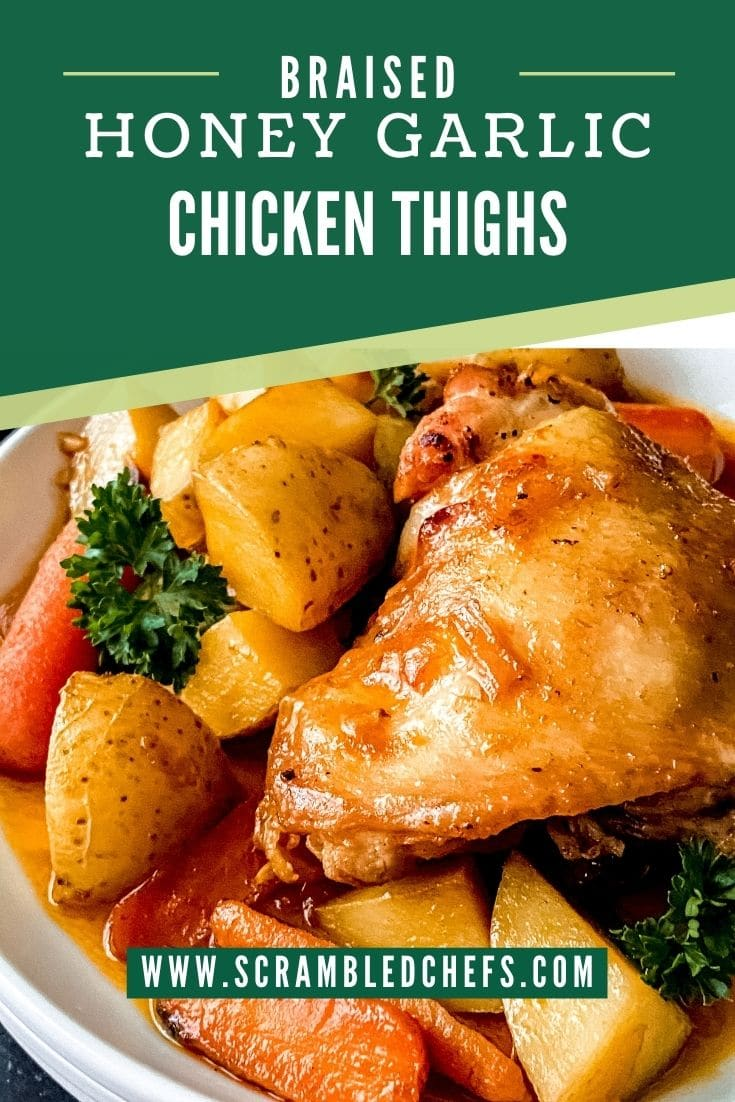 Chicken thighs with sauce and vegetables on plate with green banner that says honey garlic chicken thighs