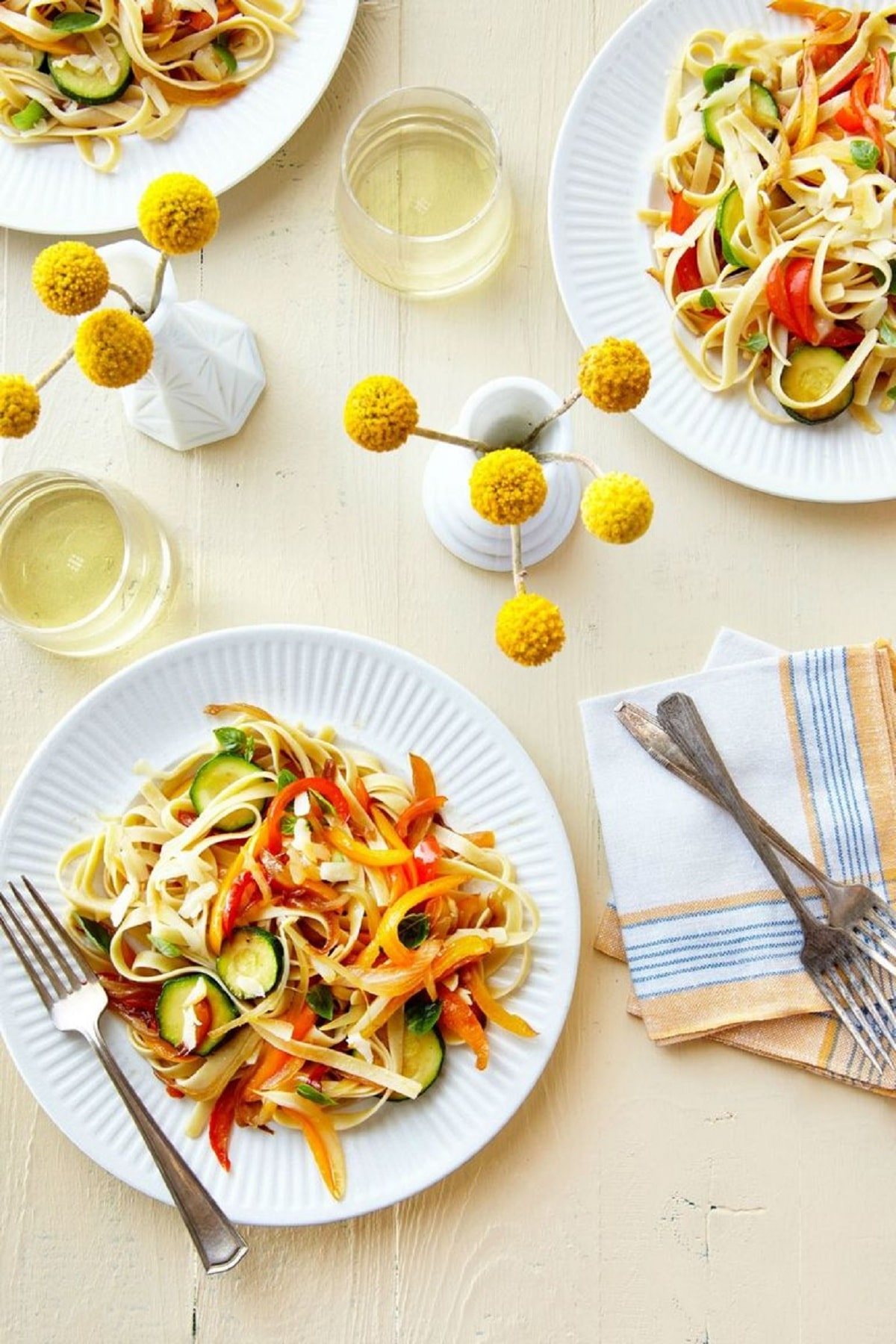 Pasta with Sautéed Peppers, Zucchini, and Smoked Mozzarella