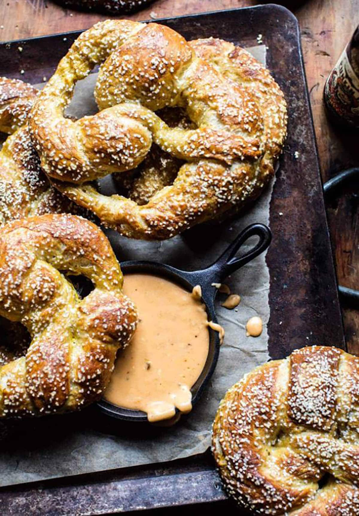 Pumpkin beer pretzel with melted creame cheese, cheddar, milk and chipotle peppers.