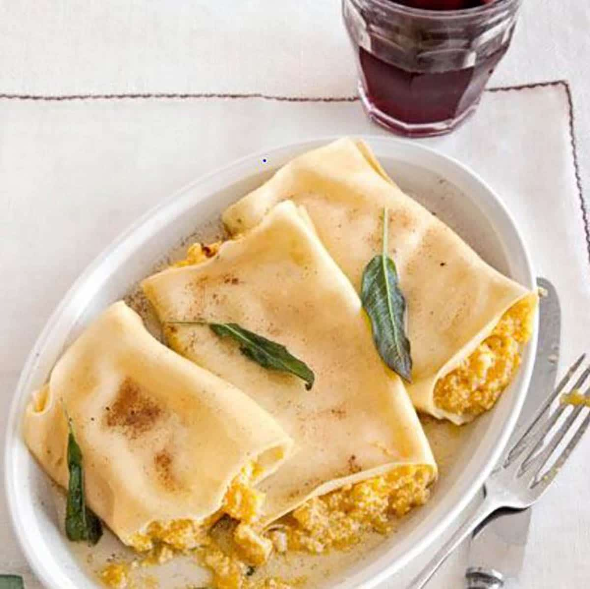 Pumpkin cannelloni topped with browned butter and sage sauce