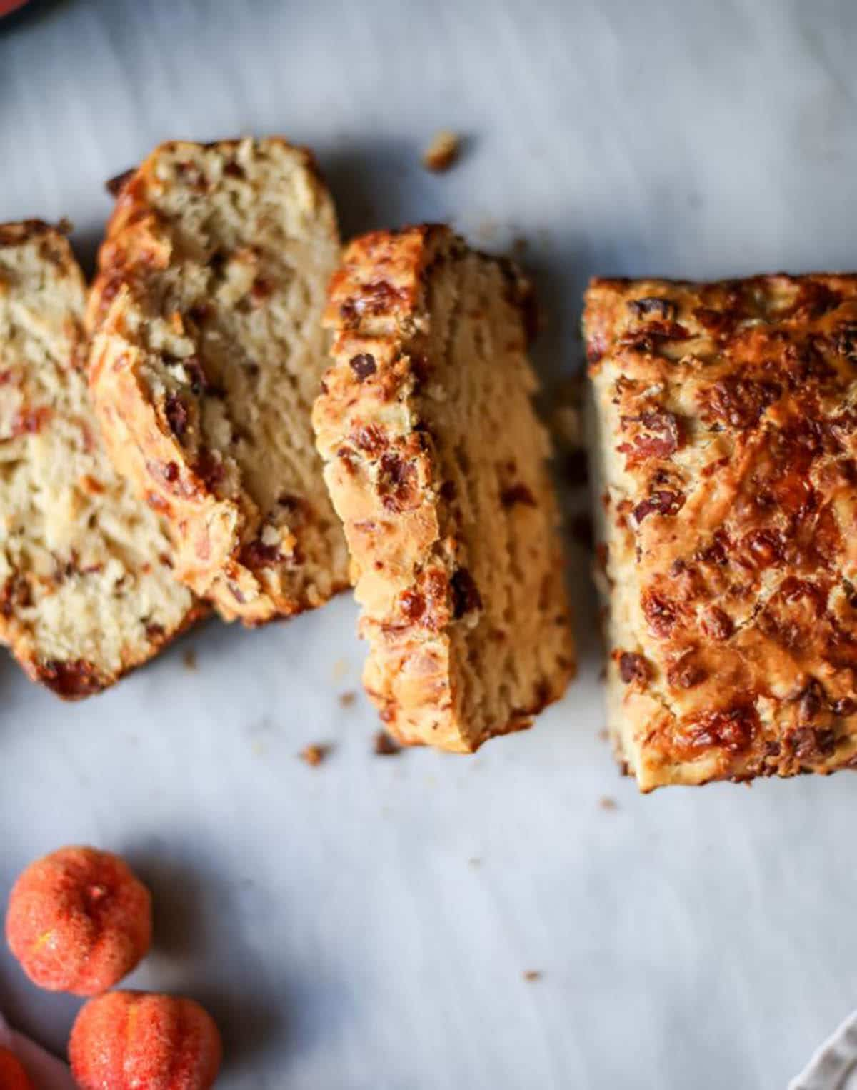 Pumpkin Cider Beer Bread with bacon, cheddar, and pumpkin spice.