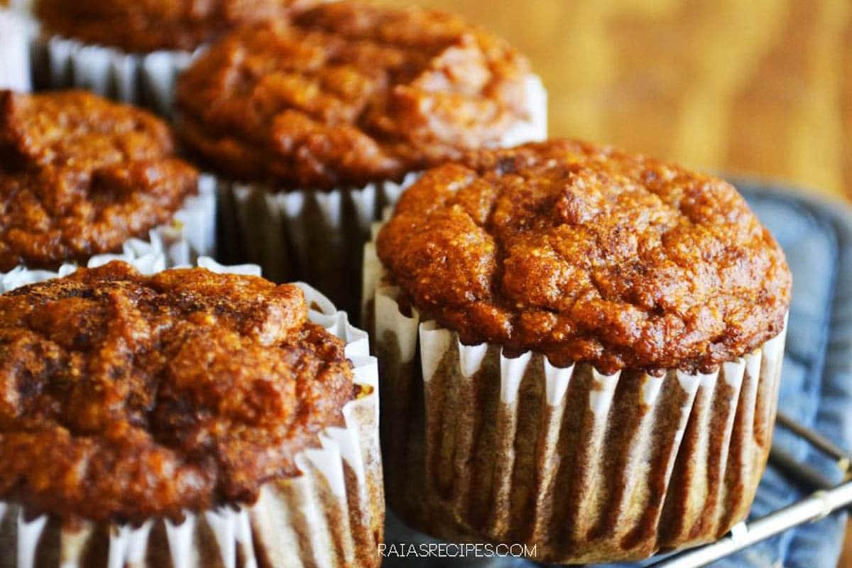 Gluten free pumpkin spice muffins made with coconut flour, pumpkin puree, applesauce, ginger, cinnamon, cloves and cloves
