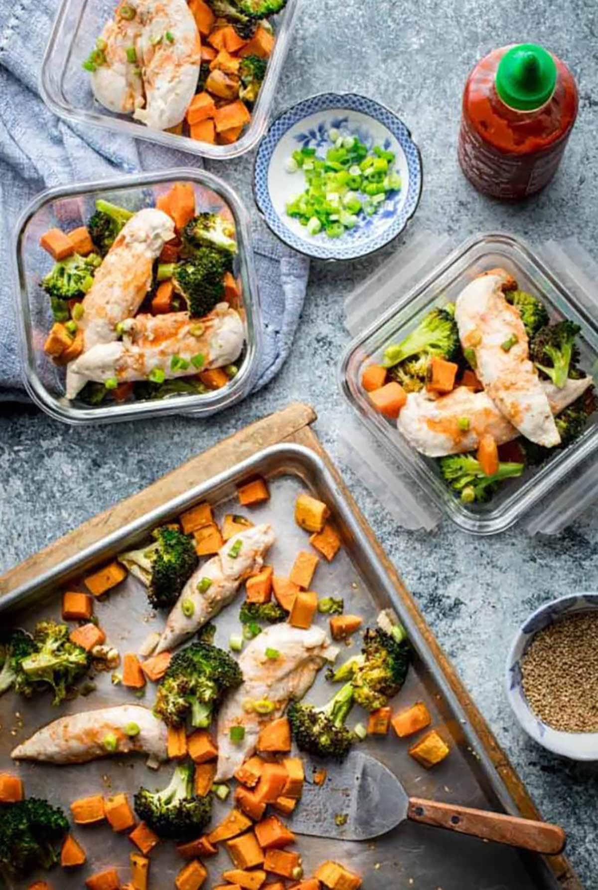 Sheet Pan Chicken and Broccoli with Honey Sriracha Sauce
