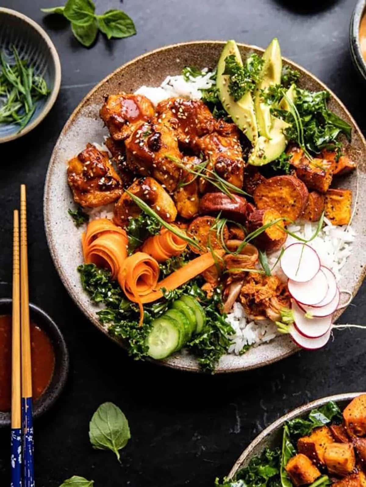 Sheet Pan Korean Chicken with avocado, carrots, kale, cucumber and radish