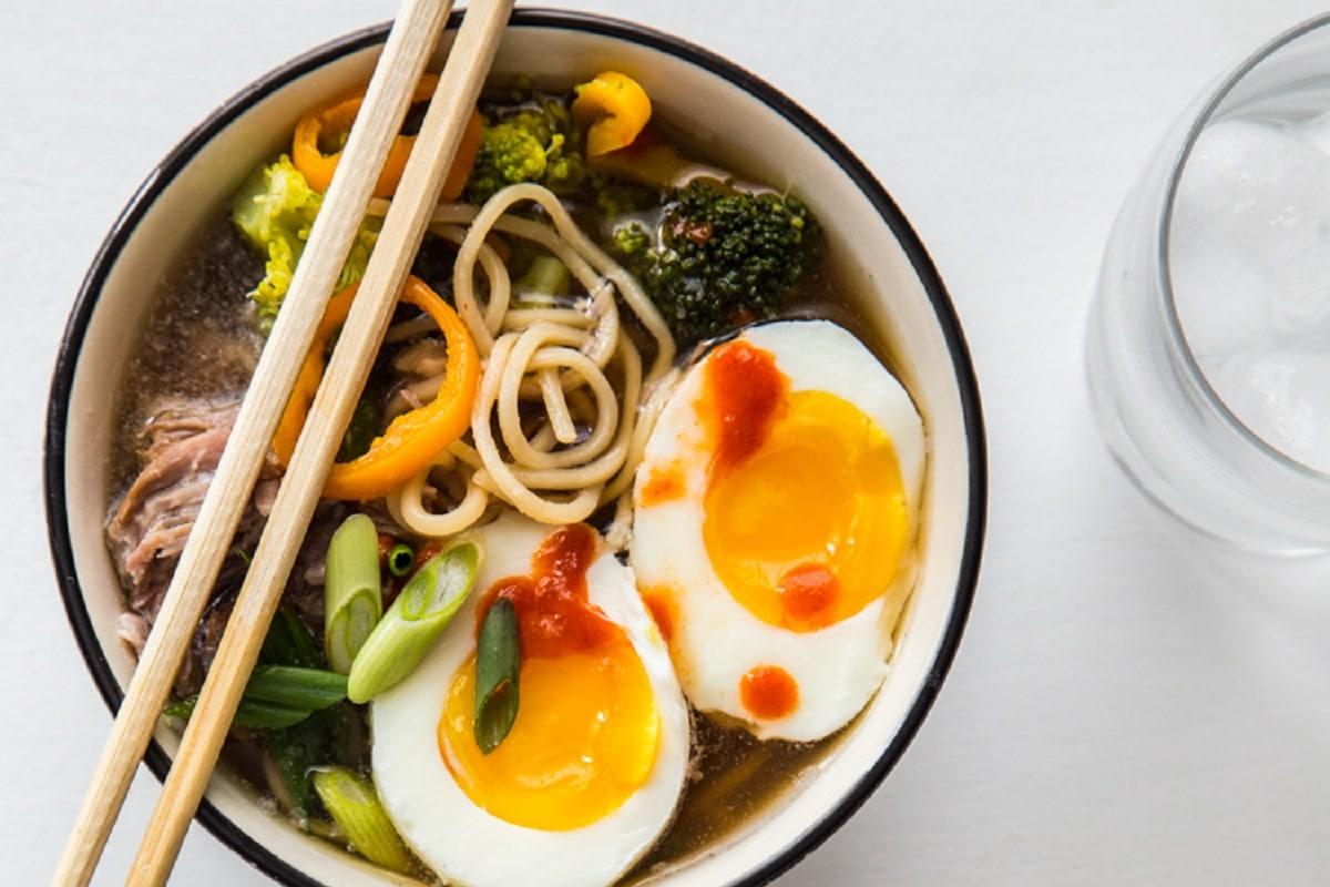 Pork Ramen in a bowl with chopsticks