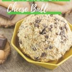 Yellow bowl of dessert dip on brown counter with green and white overlay banner saying smores dip cheese ball on top