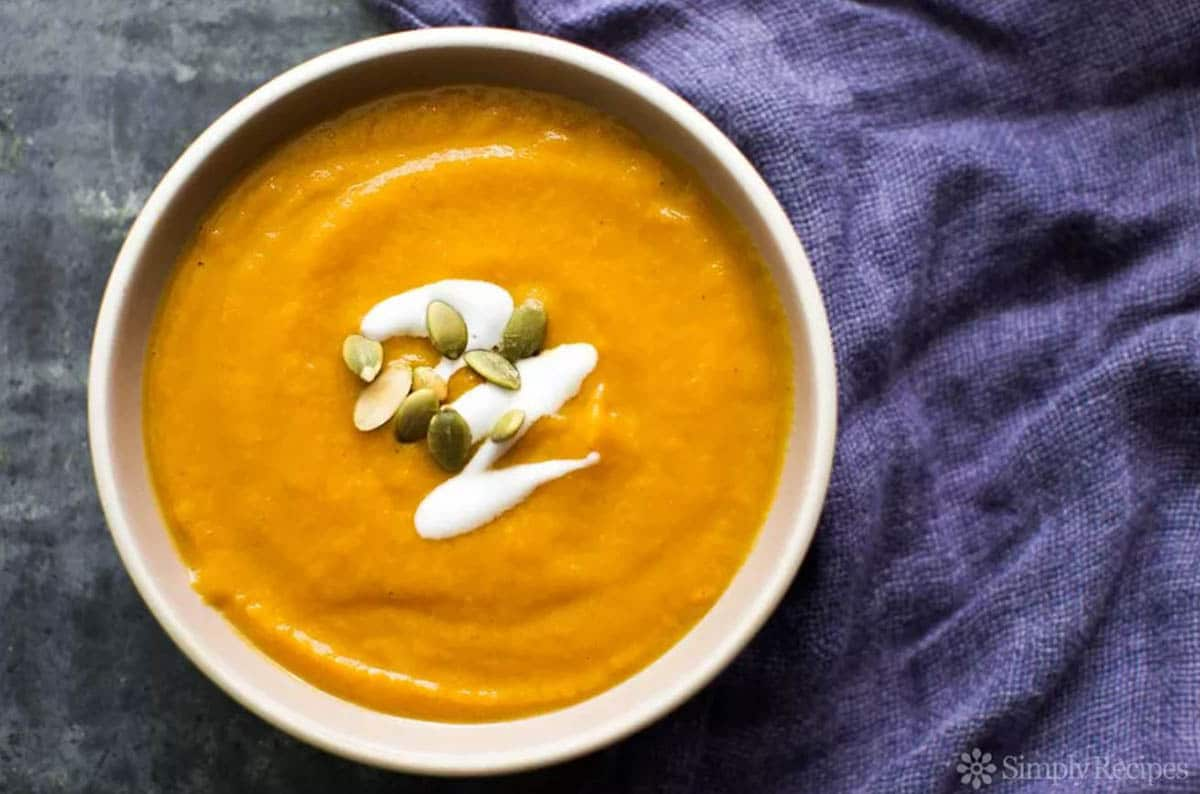 Spicy pumpkin soup with notes of ginger, curry, cumin, corander and black pepper which is a spicy treat