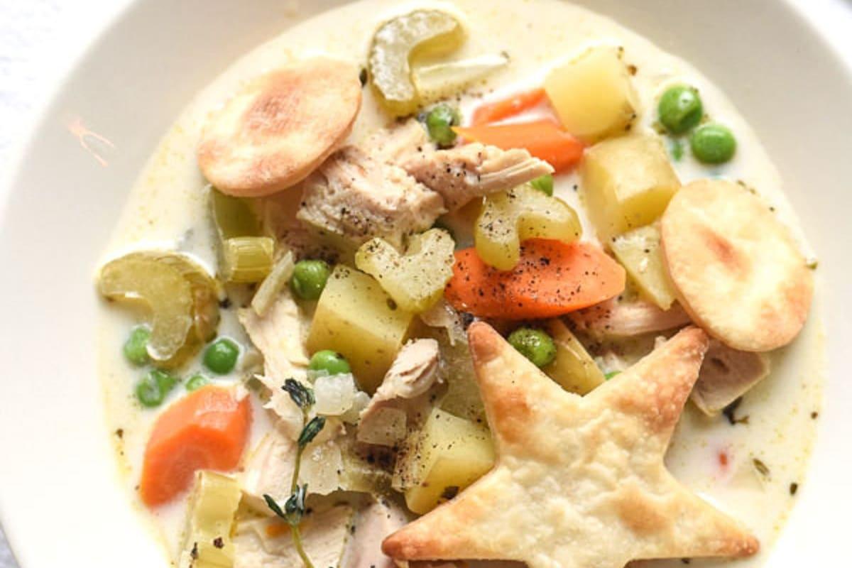 Close up of a bowl of Turkey Pot Pie Soup