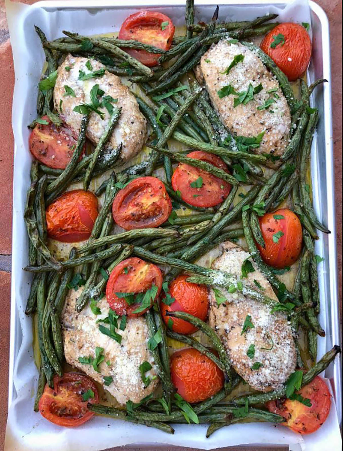 Tuscan Sheet Pan Dinner with tomatoes and beans