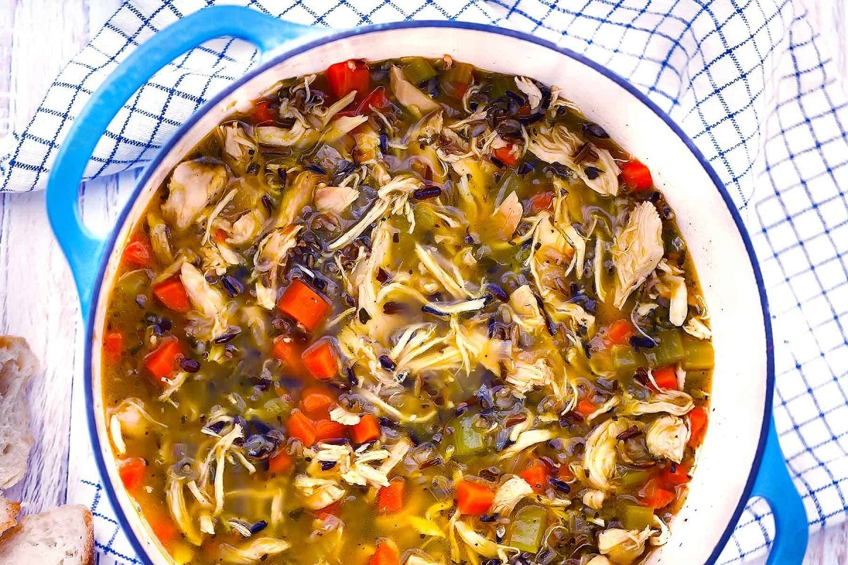 Wild Rice and Chicken Soup in a ceramic pot