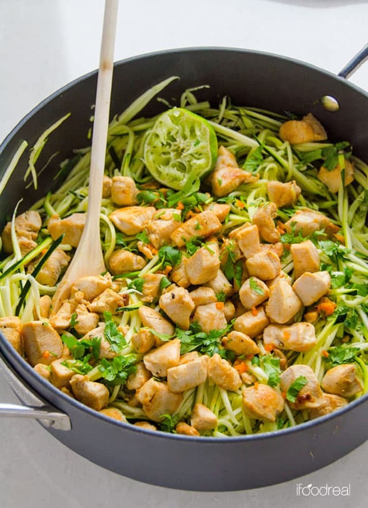Zucchini Noodles with Chicken, Cilantro, and Lime