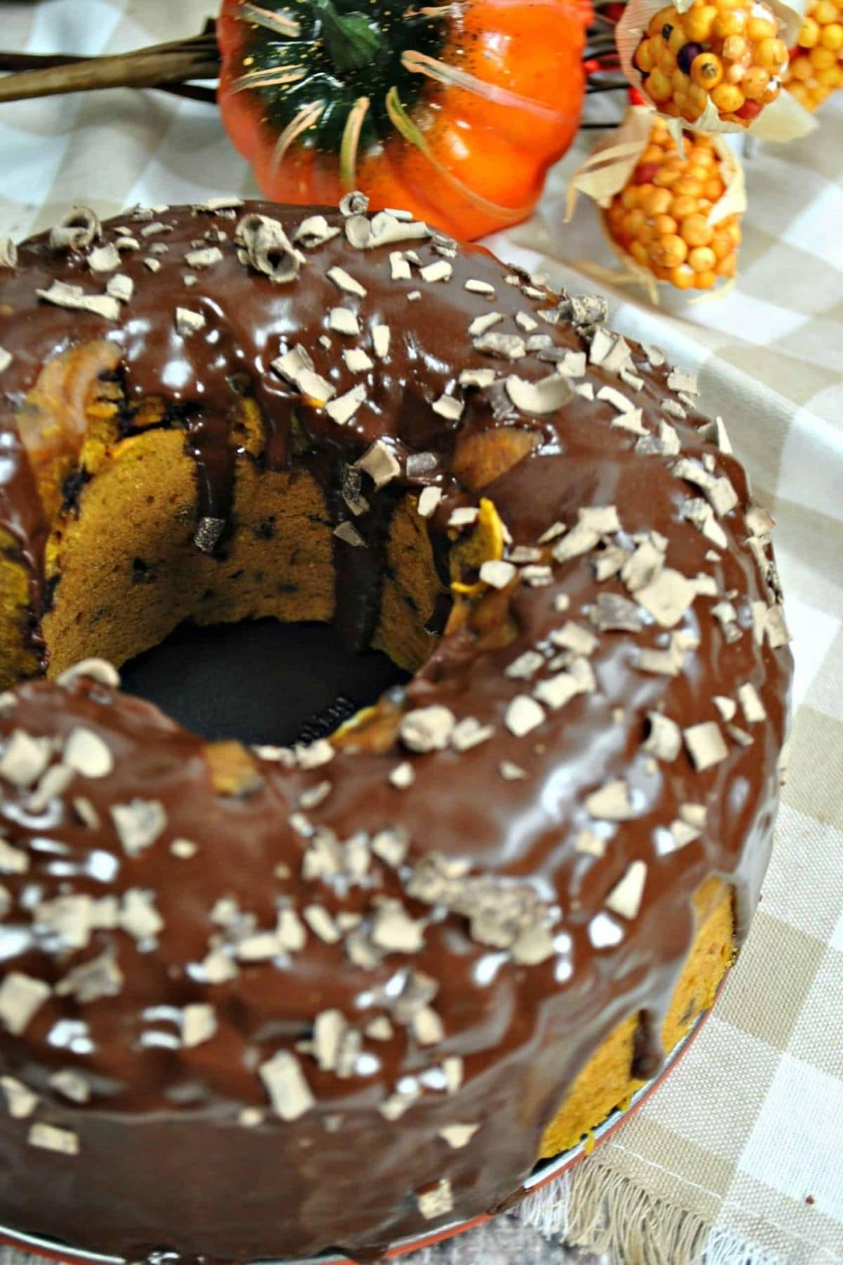 Bundt cake topped with chocolate
