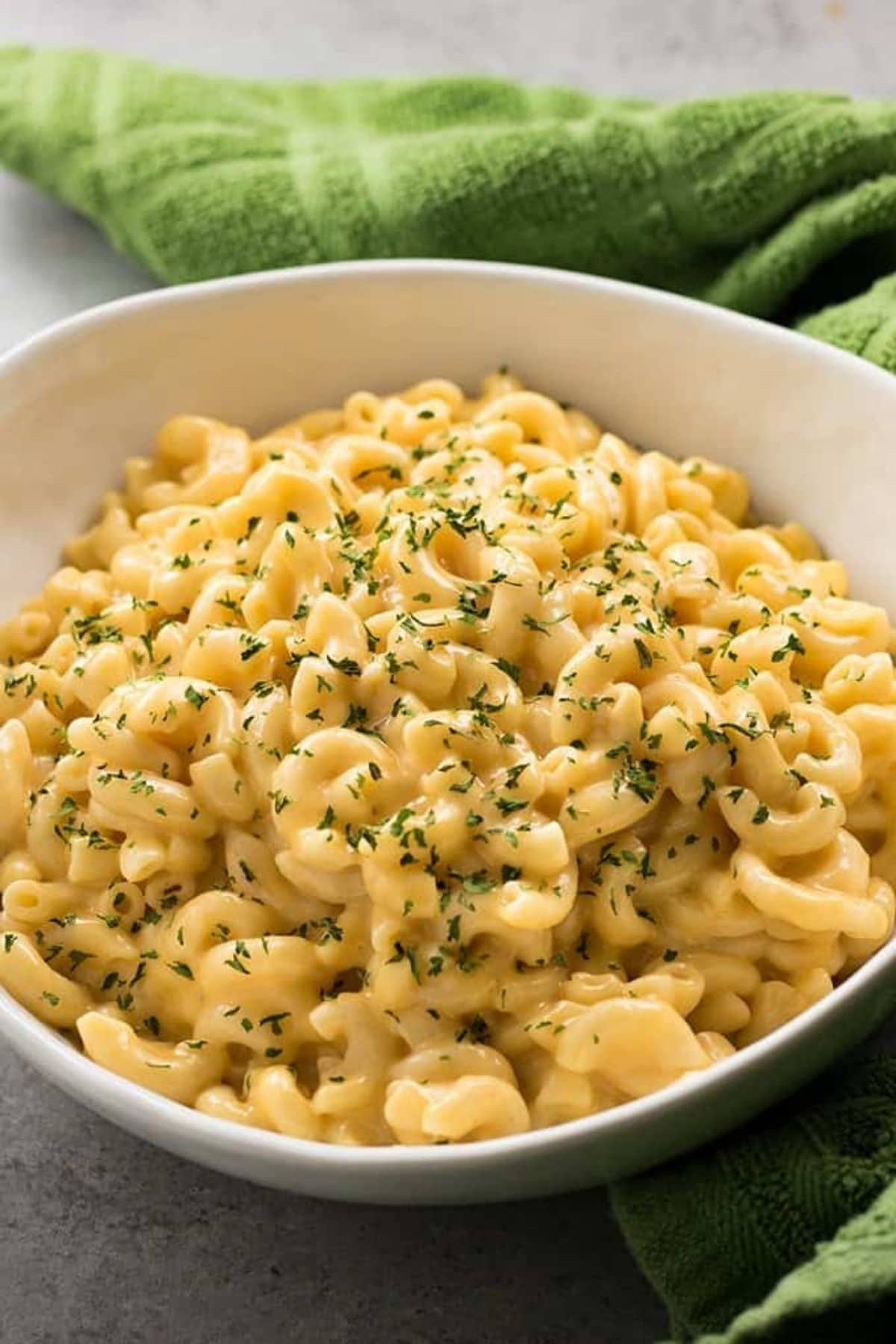 Large white bowl of macaroni and cheese