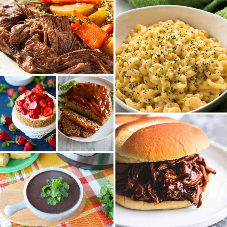 Square collage image of instant pot recipes
