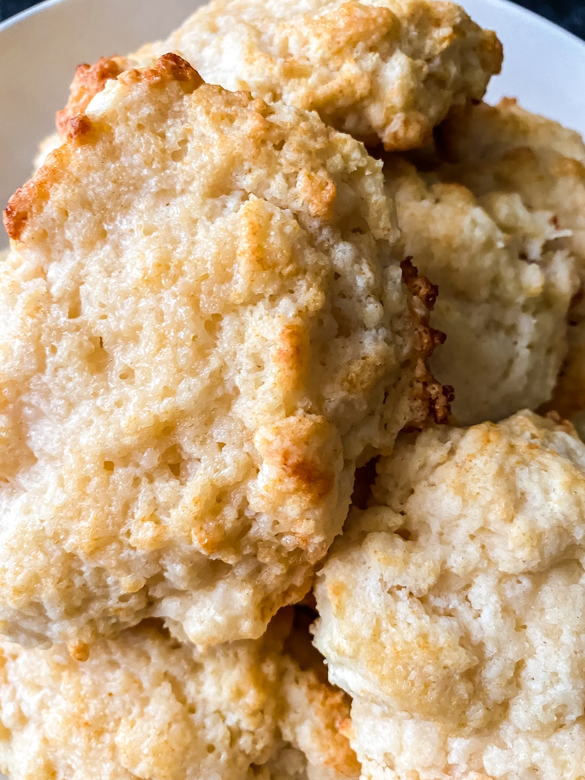 Close up picture of biscuits in bowl