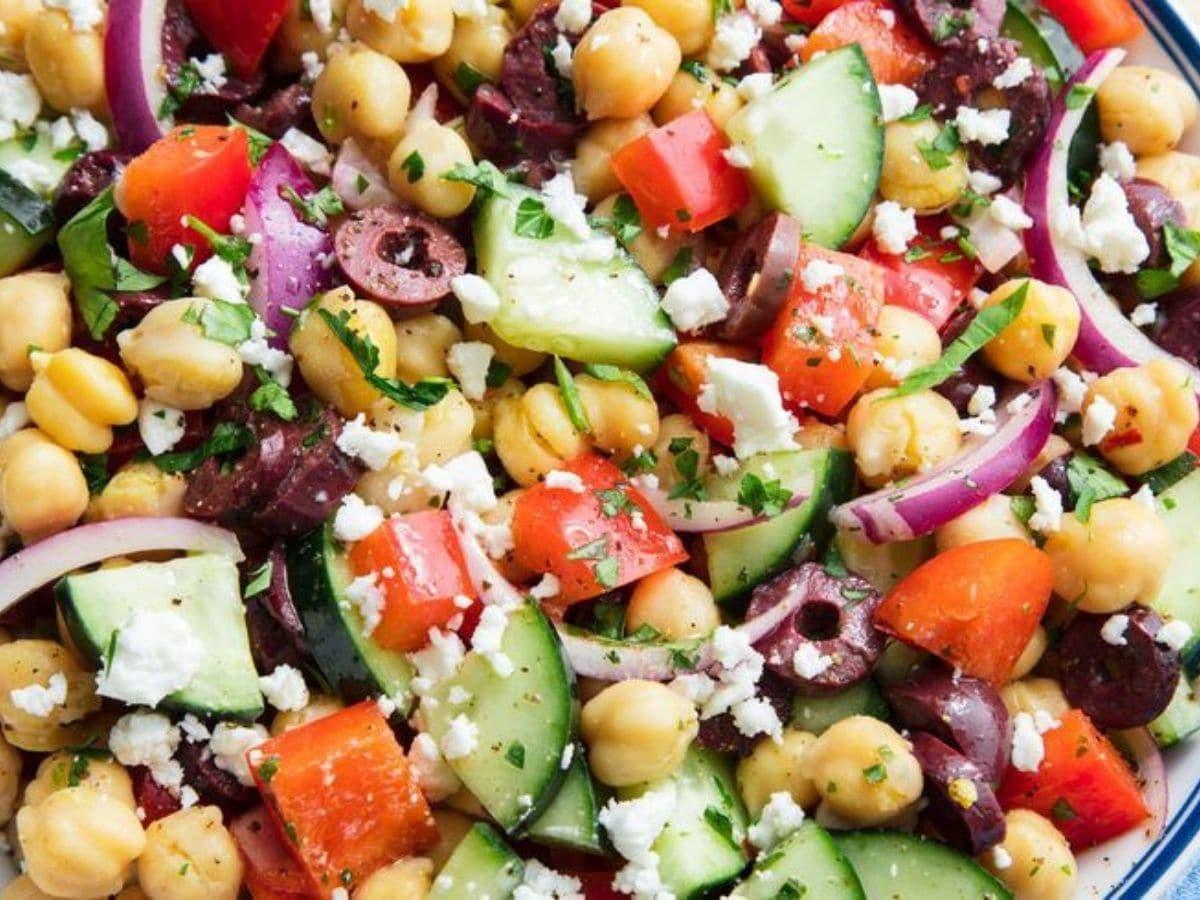 Greek salad close up in bowl