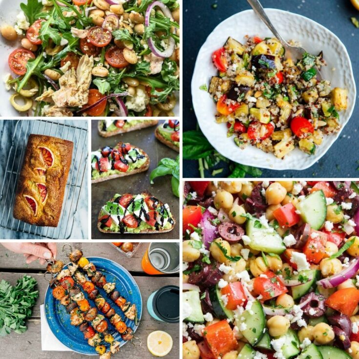 Collage image of recipes including salads and kabobs
