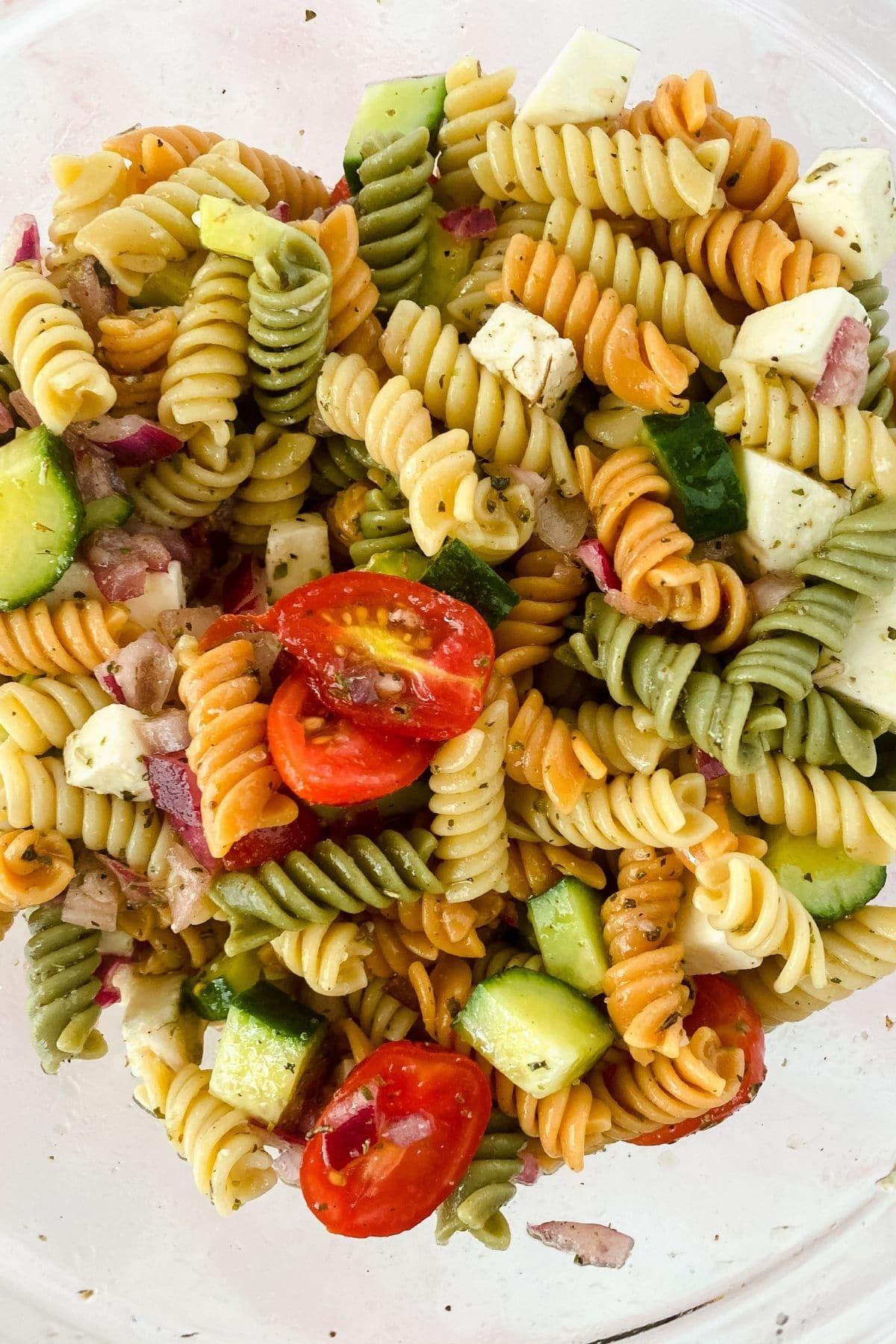 Picture from above bowl of pasta salad