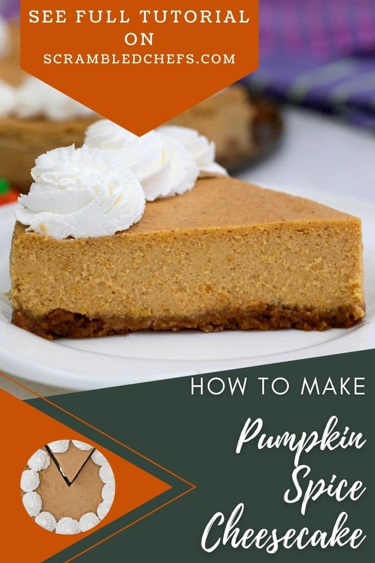 Side of sliced pumpkin cheesecake on plate with orange and green overlay on image