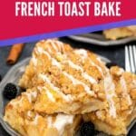 Pumpkin french toast squares on black plate with pink and purple overlay on top
