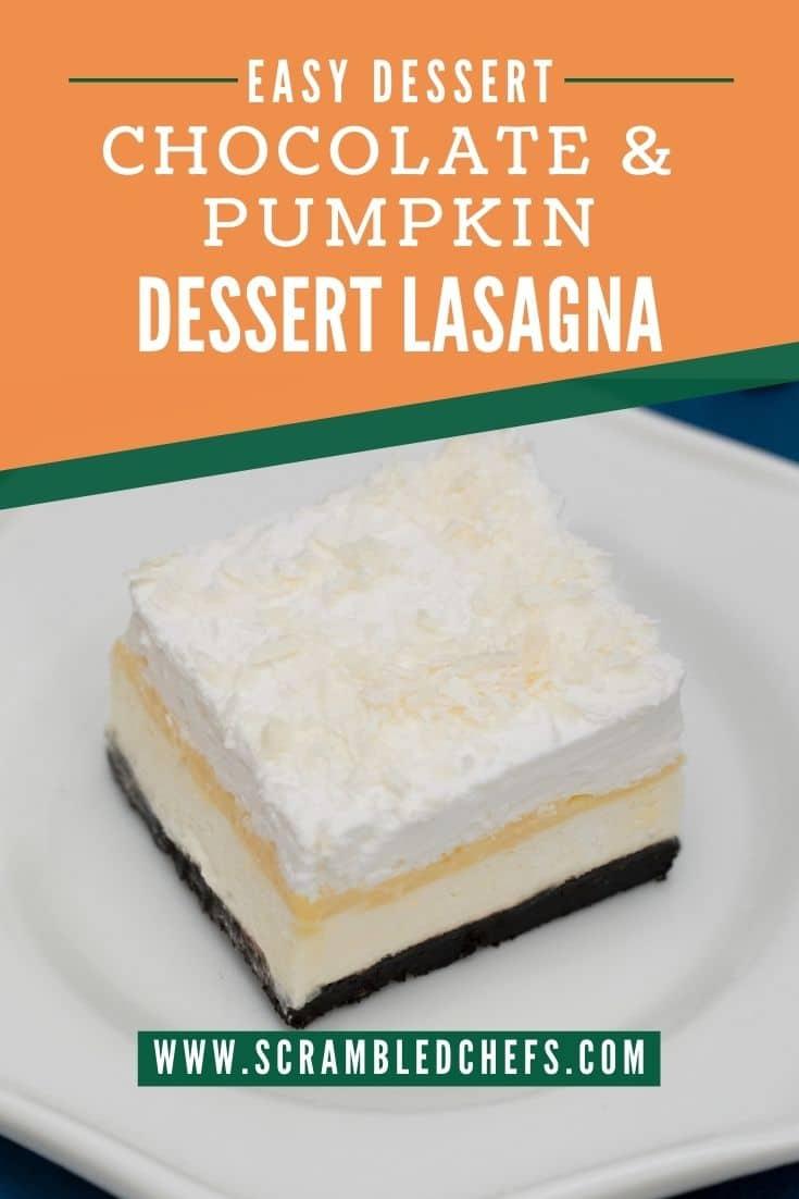 Pumpkin dessert lasagna on white plate with orange overlay on top