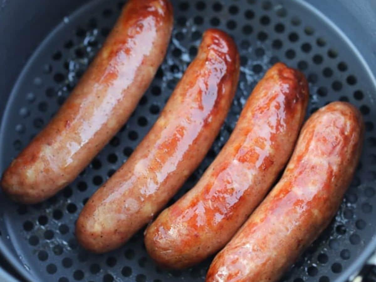 Sausage links in air fryer basket